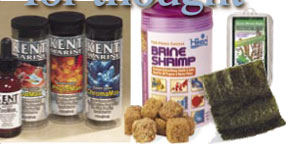 A variety of aquarium fish foods.