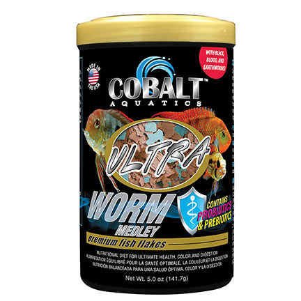 Cobalt™ Aquatics Ultra Worm Medley Premium Fish Food Flakes