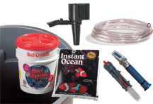 Components for a saltwater mixing container.