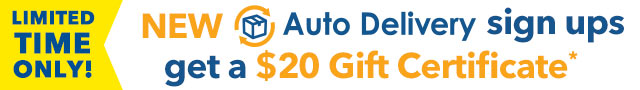 Receive a $20 Gift Certificate with Auto Delivery sign up