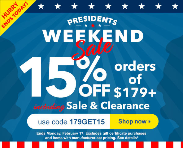 Save 15% on orders $179+