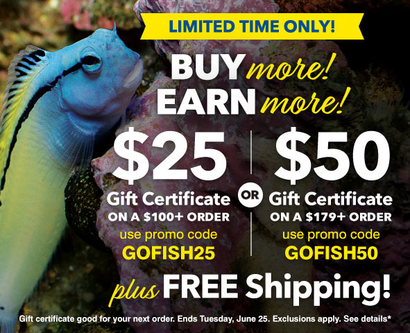 Earn up to a $50 Gift Certificate on orders of $179 or more plus FREE Shipping!